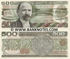 Mexico 500 Pesos 1984  Front: Francisco Ignacio Madero González - politician, writer and revolutionary who served as President of Mexico from 1911 to 1913; Back: Aztec Calendar Sun Stone (Piedra del Sol); Mayan bas-relief.