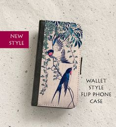 Front of case printed with a vintage Japanese woodblock print design featuring two swallows  Available as a black side hinged case for: iPhone 4/4S, 5/5S, 5C, SE, 6/6S, 6PLUS/6SPLUS, 7 & 7 PLUS Samsung Galaxy S4, S5, S6, S6Edge, S6 Edge Plus, S7, S7 Edge, Note 4, Note 5  Please select your option from the drop-down list on the right.  Protective, durable and lightweight case for your iphone. This wallet style flip case has an image printed onto fabric which flips open ...