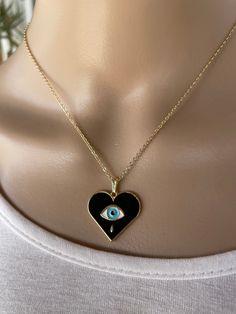 Gold filled Evil eye heart necklace - Gift for her - Women's protection Necklace Sizes, Bracelet Sizes, Pendant Necklace, Evil Eye Jewelry, Evil Eye Necklace, Greek Evil Eye, Minimalist Necklace, Gold Filled Chain, Black Enamel