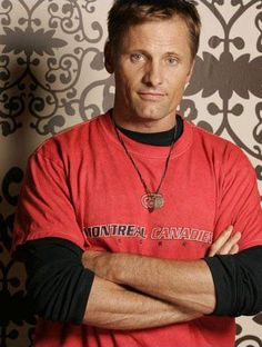 Viggo Mortensen wearing a Montreal Canadiens T-shirt. The intersection of two of my favorite things: Hockey and Aragorn.