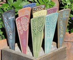 Garden Markers For Your Yard & Planters -  3 Inspirational ceramic garden stakes on Etsy, $21.00