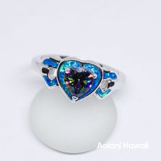 Heart Shape Mystic Topaz and Opal 925 Sterling Silver Inlay Ring Hawaiian Wedding Rings, Rainbow Topaz, Mystic Topaz, Blue Opal, Heart Shapes, Heart Ring, Jewels, Sterling Silver, High Gloss