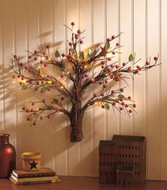 Lighted-Country-Wall-Tree-w-Faux-Berries-Stars-Mini-LED-Lights-Christmas-Decor