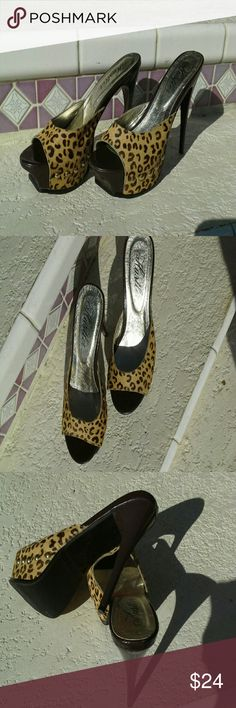 "SEXY high heel shoes Leopard print, 5"", has very minor marks on heels but not really noticeable otherwise in excellent condition hustler Shoes Heels"