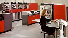 IBM System/360 showing the main console, four tape drives, two disk drives and an card I/O unit