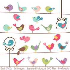 Birds SVGs Birds Cutting Templates  Commercial and by PinkPueblo, $8.00