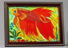 Витражная картина Золотая рыбка от Issmile на Etsy