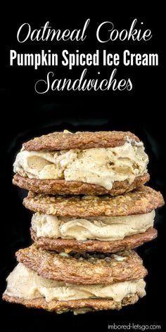 Thin, soft and chewy oatmeal cookies with chopped pecans and white chocolate chips with homemade pumpkin spiced ice cream. The ice cream is fantastic and has bourbon in it...even better!