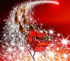 Merry Christmas - lovely, red, glitter, elk, holidays, merry christmas, festival, beautiful, magic, happy, colorful, pretty, beauty, holiday, snowflake, stars, christmas, reindeer, santa claus, colors, sledge, photography, fantasy, santa, christmas fathershining, xmas