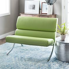 6c067808ef91 Rialto Lime Green Bonded Leather Loveseat