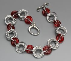 Synthesis Bracelet- Aluminum/Cherry Red