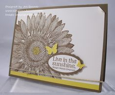 stampin' up! sunflower card- totally love the color scheme. Yellow and brownish/grayish colors. Awesome!