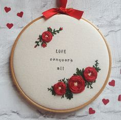 Items similar to Valentine gift Valenti Embroidery Hoop Crafts, Floral Embroidery Patterns, Hand Embroidery Videos, Embroidery Flowers Pattern, Embroidery On Clothes, Simple Embroidery, Learn Embroidery, Hand Embroidery Stitches, Hand Embroidery Designs