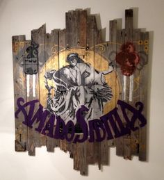 Amaro Sibilla visual.  Stencil art 140x140 cm spray on recycled wood.