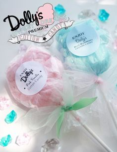 20 Cotton Candy Lollipops with Custom Labels by Dollyscottoncandy
