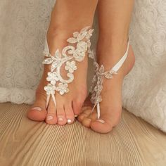 ivory  Barefoot  silver frame  french lace sandals by BarefootShop