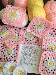 Transcendent Crochet a Solid Granny Square Ideas. Inconceivable Crochet a Solid Granny Square Ideas. Crochet Flower Squares, Crochet Daisy, Granny Square Crochet Pattern, Crochet Flower Patterns, Crochet Diagram, Afghan Crochet Patterns, Crochet Motif, Diy Crochet, Crochet Designs