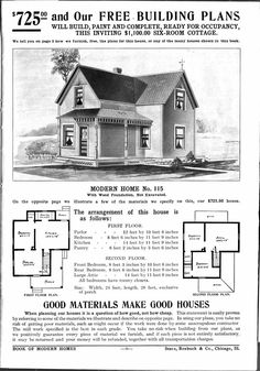 1908 Sears mail-order house No. 115 for $725 - 1913 home decor - Google Search
