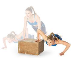 Plyo Box Burn: Multilevel Push-Up exercise This is a great one! It's one of the best ways to build power, prime the nervous system, and activate the fast-twitch fibers. Fitness Nutrition, Fitness Tips, Fitness Motivation, Workout Fitness, Fitness Exercises, Box Jump Workout, Cardio, Tabata, Plyo Box