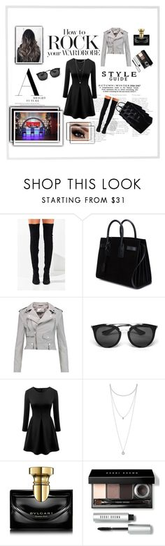 """Ready for party"" by naya-dg ❤ liked on Polyvore featuring Jeffrey Campbell, Yves Saint Laurent, W118 by Walter Baker, Prada, WithChic, Lucky Brand, Bulgari, Bobbi Brown Cosmetics and Menu"
