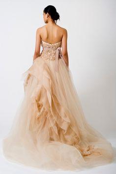 Love it! Peach wedding gown by Vera Wang