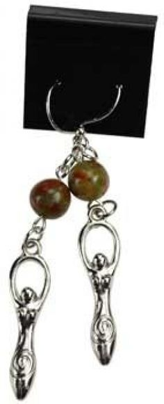 "Unakite Goddess earrings. These earrings will allow you to focus your energy with a short meditation and the gentle swaying of the earrings. Hypo allergenic, surgical steel French hooks. Unakite, Pewter. Beads are 1/4"", Charms are 1 1/4"" x 1/4"", length is 2 1/2"""