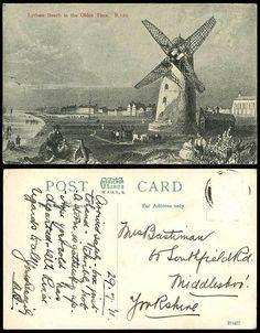 Lytham Beach in The Olden Time B.120 Windmill Horses 1911 Old Art Drawn Postcard   eBay