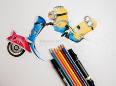 step by step - Minions - colored pencils and art markers (format A3)