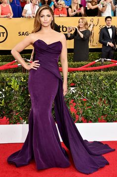 Camila Alves in a Donna Karan purple washed silk crepe gown at the 2015 SAG Awards