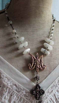 'm a r y'  vintage assemblage necklace with sterling silver Catholic medal and crystal rosary by The French Circus, $95.00