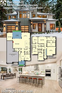 Architecture Discover Plan Contemporary Prairie Style House Plan with Lots of Options Contemporary House Plans, Modern House Plans, Modern House Design, Modern Contemporary, Dream House Exterior, Dream House Plans, House Floor Plans, The Plan, How To Plan