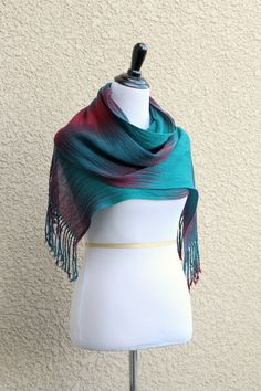 Hand woven pashmina scarf/wrap in gradient dark teal, burgundy and red colors, long with fringe