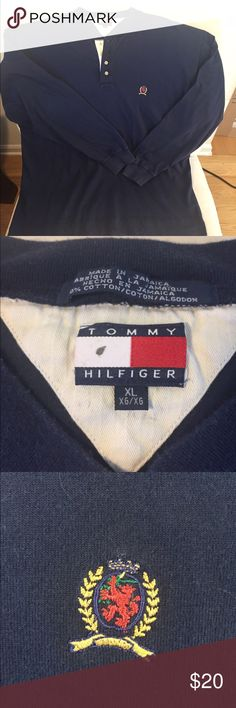 Streetwear SS17 Perfect condition, curated Tommy Hilfiger Henley with embroidered logo. Lightweight cotton sz XL. Tommy Hilfiger Shirts Polos