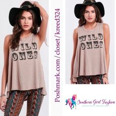 """SHOW ME YOUR MUMU Tank Top Jolo Wild Ones Graphic Size Small New With Tags $66.  Color: Taupe   Soft tank with slight scoop neck and high low hem.  Made in the USA.  *100% Jersey  Measurements (garment flat): Length (front): 24.5"""" Length (back): 27"""" Underarm to Underarm: 20.8"""" Across Midsection: 26"""" Bottom Opening: 32""""   ❗️ Please - no trades, PP, holds, or Modeling.   ✔️ Reasonable offers considered when submitted using the blue """"offer"""" button.    Bundle 2+ items for a 20% discount!    Stop…"""