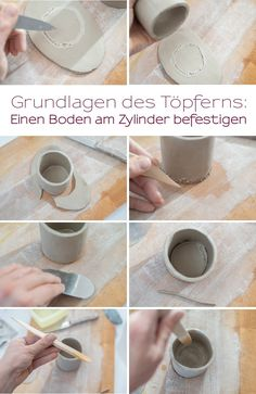 My potter& diary Basic techniques and mini flower pots - Leelah Loves - Instructions for self-made mini tripod flower pots made of clay with explanation of the basics for - Craft Clay, Diy Clay, Clay Crafts, Cardboard Crafts, Felt Crafts, Pottery Tools, Slab Pottery, Cosas American Girl, Homemade Home Decor