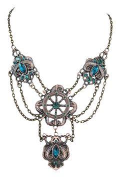 Restyle Victorian Steampunk Pirate kraken & Boat wheel Faux Green Emerald Statement Necklace