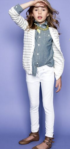 Can I have this outfit? Better yet, can I just be able to pull off white skinnies?  j.crewcuts