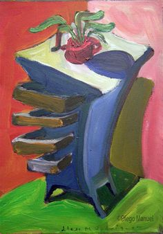 """Cajonera celeste 2"" acrylic on canvas, 26 x 22 cm. , 2002."