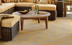 A refined pattern of geometrics handsomely grounds your outdoor spaces with color and durable construction.