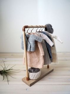 Items similar to Doll wood clothes rack/ clothes stand/ doll furniture on Etsy Doll wood clothes rack/ clothes stand/ doll by lespetitesmainsS Miniature Crafts, Miniature Dolls, Dollhouse Miniature Tutorials, Clothes Stand, Clothes Hanger, Kids Wood, Barbie Furniture, Furniture Legs, Garden Furniture