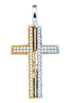 10kt Two-tone Gold Womens Round Natural Diamond Cross Fashion Pendant 1/5 Cttw