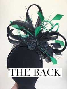 Green and Black Fascinator, back view