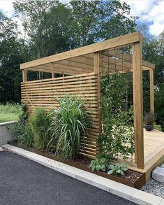 Patio Gazebo, Backyard Patio, Backyard Landscaping, Garden Structures, Outdoor Structures, Privacy Planter, House Fence Design, Metal Lattice, Circular Patio