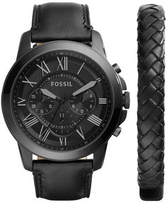 Fossil Men's Chronograph Grant Black Leather Strap Watch & Bracelet Box Set 45mm FS5147SET - Watches - Jewelry & Watches - Macy's