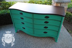 Serpentine Dresser done in #GeneralFinishes Patina Green with Van Dyke Brown Glaze.  Top is done in #JavaGel and the hardware was updated with oil rubbed bronze.  #Furniture #Painting #ShabbyChic