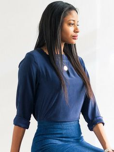 Silk Pullover - Navy by dusen dusen for Of a Kind