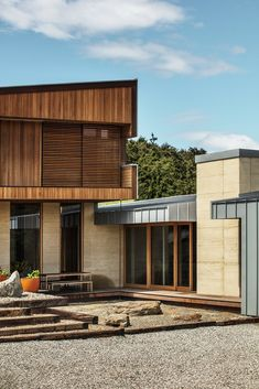 A Rammed Earth Home Rises on a Breathtaking Site in New Zealand's Southern Alps #dwell #greenhomedesign #modernarchitecture #newzealand #moderndesign