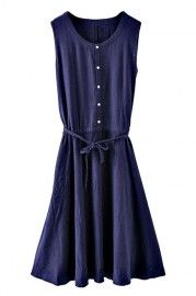 ROMWE Self-tied Buttoned Sleeveless Navy Blue Dress