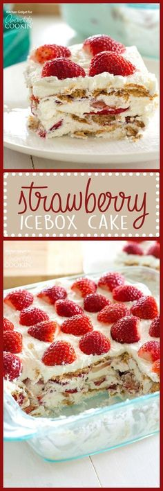 Strawberry Icebox Cake is the perfect summer treat. Strawberries, whipped cream, and graham crackers are all you need to make this no-bake dessert wonder!