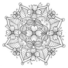 Dogwood Mandala to Color fabric by kimmiles on Spoonflower - custom fabric